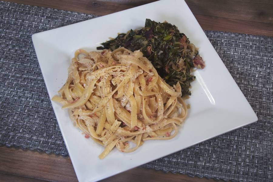 Frank's Fettucine and Sauerkraut with Sherry Cream Sauce