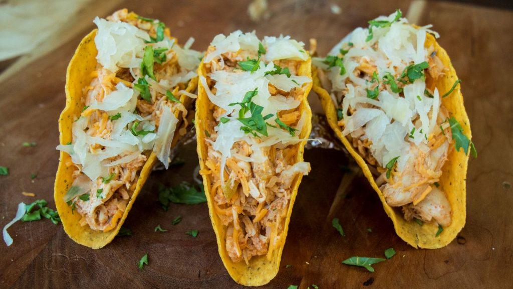 Cheesy Krauted Chicken Tacos