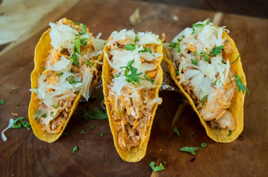 Cheesy Krauted Chicken Tacos