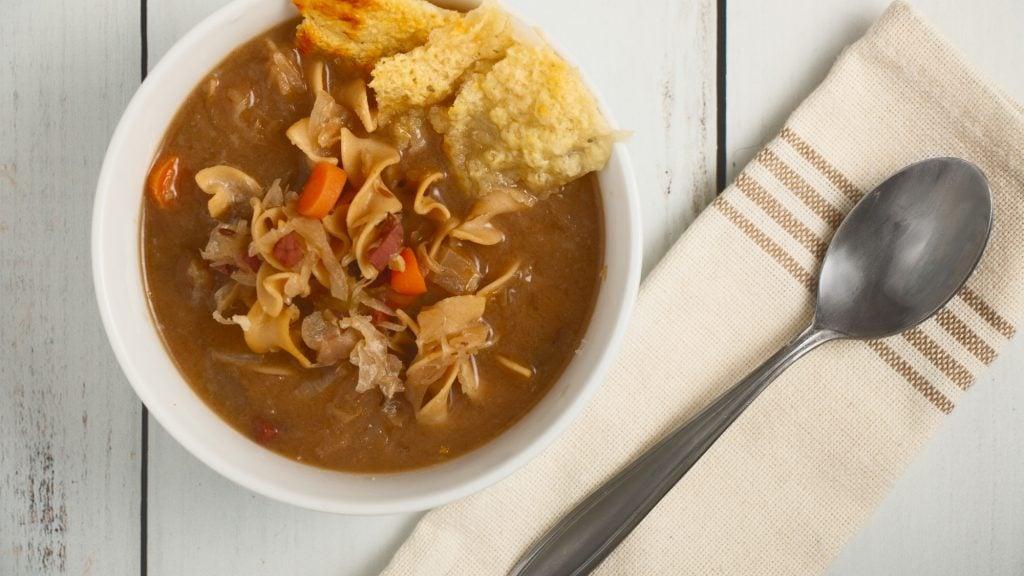 Reuben Noodle Soup