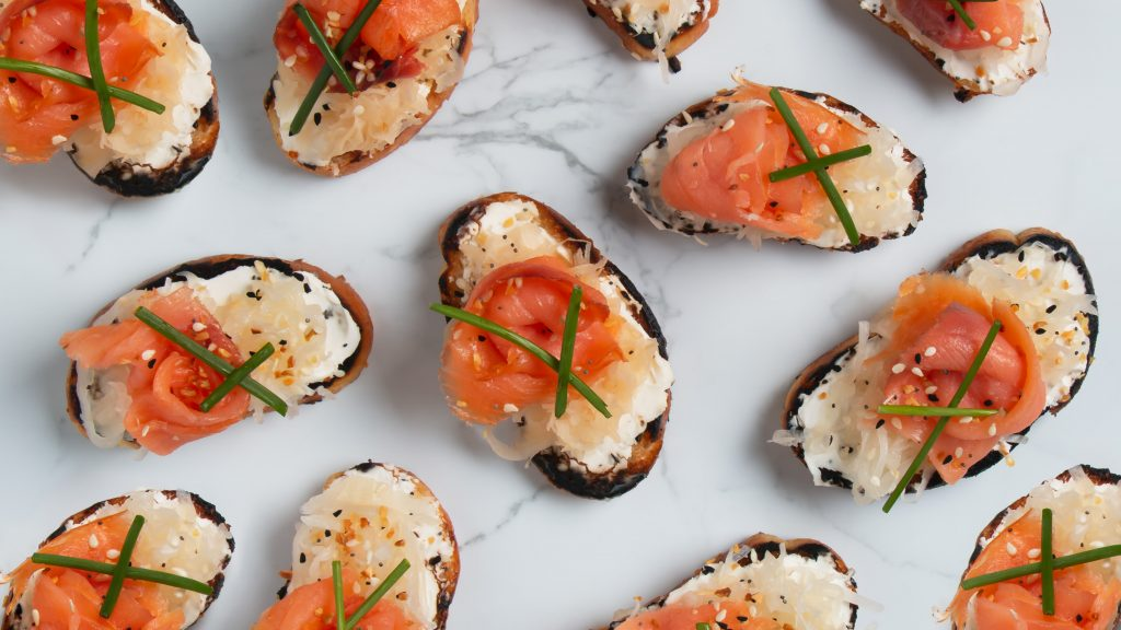 Smoked Salmon and Kraut Crostini