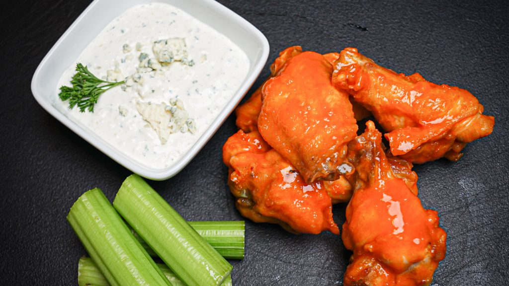 Buffalo Wings with Creamy Kraut and Bleu Cheese Dip